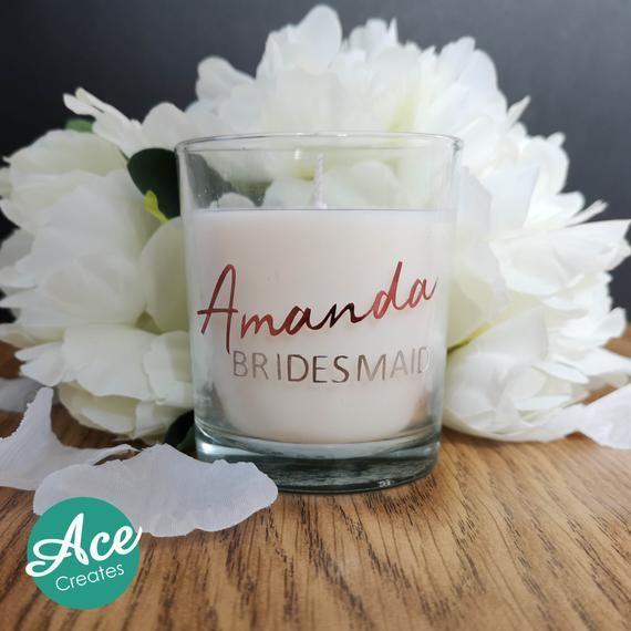 Personalised Wedding Candle Bridesmaid Gift Wedding Favours Etsy In 2020 Personalised Wedding Candles Gifts For Wedding Party Bridesmaid Candle