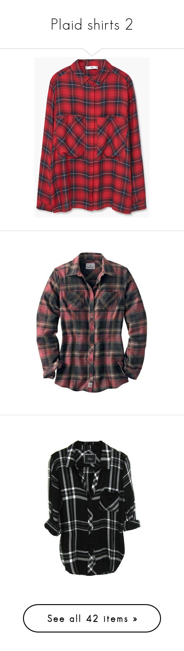 """Plaid shirts 2"" by chell-p ❤ liked on Polyvore featuring plaid, shirts, tops, mango, checkerboard shirt, red long sleeve top, long sleeve shirts, long-sleeve shirt, long sleeve collared shirt and flannel"
