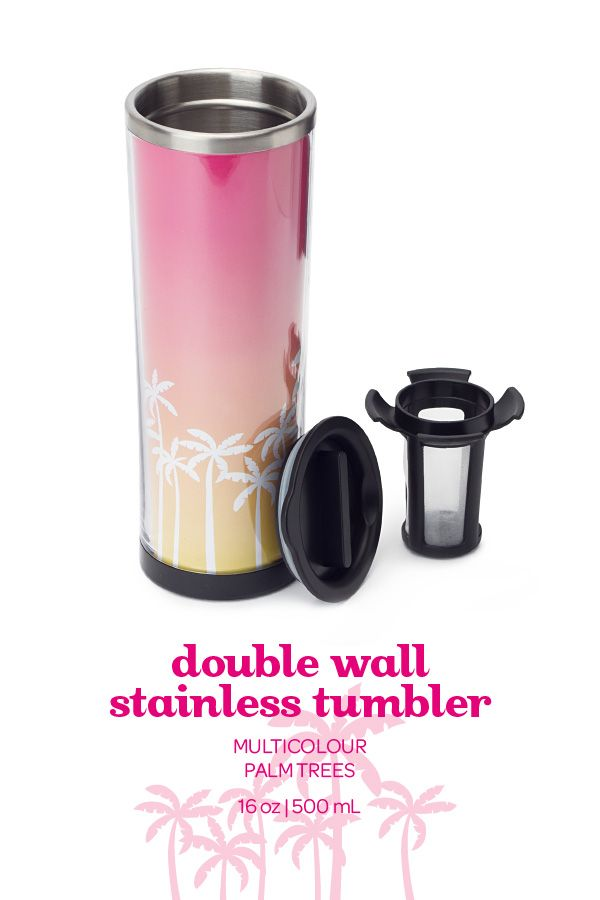 This fun, tropical travel mug is like a summer vacation in a cup.