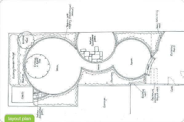 Small garden plan showing how line of small circle edging sweeps into circular patio and beyond to larger round lawn (Nancy Rogers Garden Design, small garden 4 portfolio image 2).