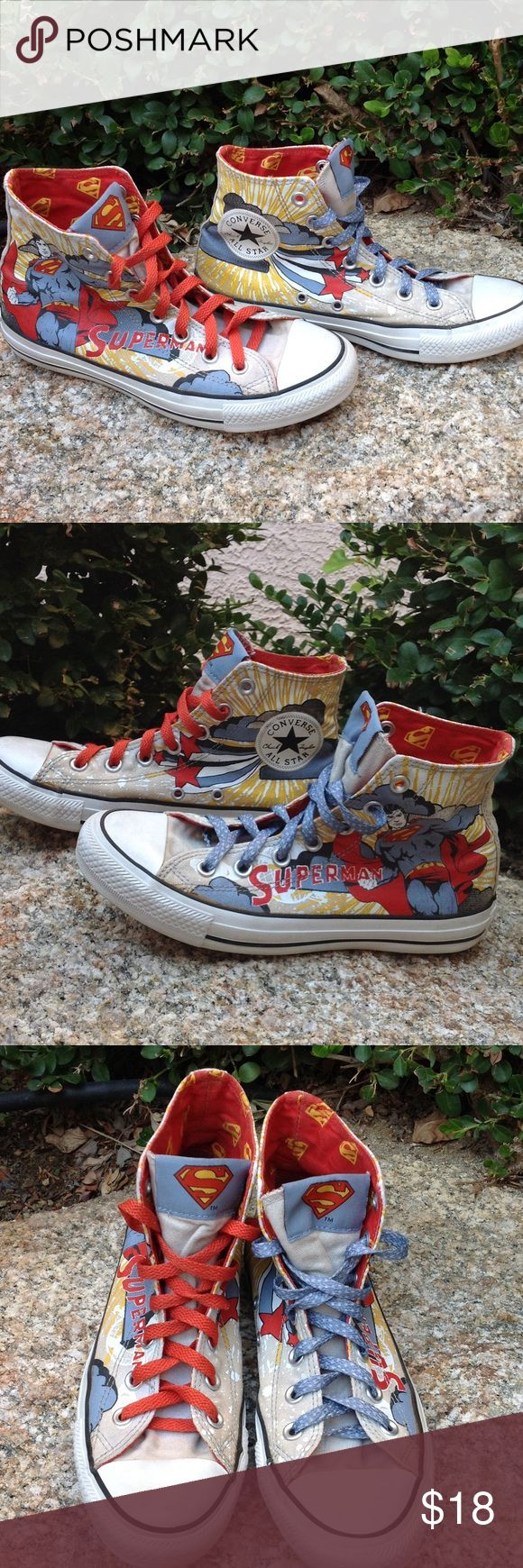 Converse High Tops Superman Edition These are cool! High top chucks that are Superman themed. One red & one blue shoe lace. The Superman logo is on the tongue of each shoe. These are gently used & in good condition. They're priced accordingly for wear. Size 5 men's/Size 7 woman's. Converse Shoes