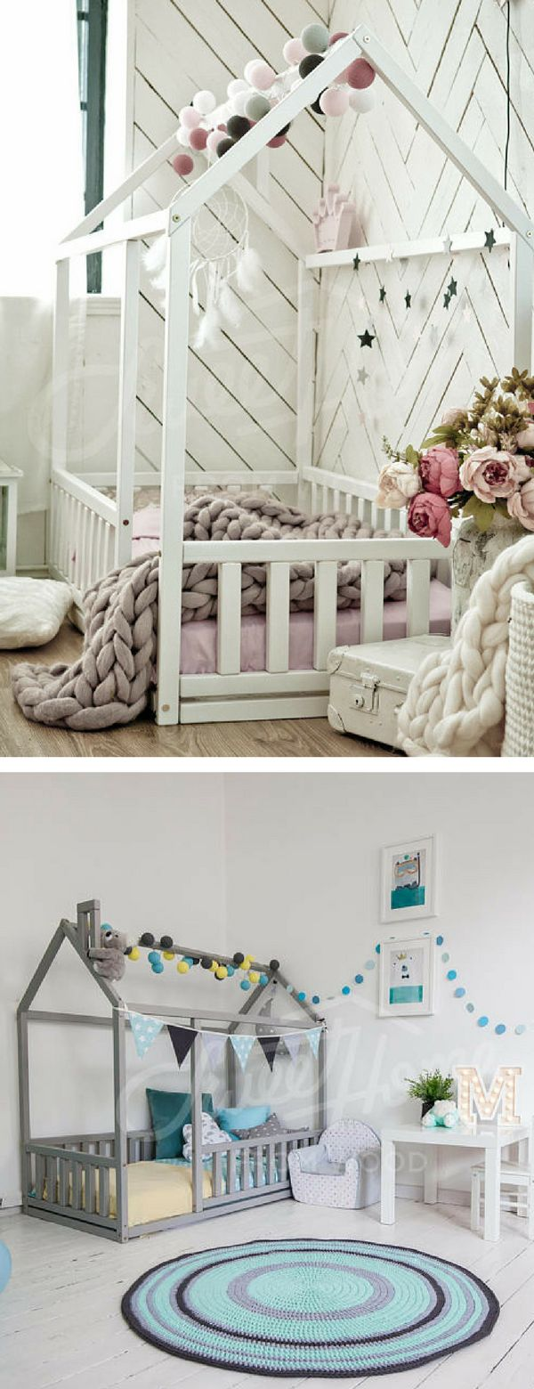 This twin size Scandinavian design children bed is an amazing wooden house bed for children to sleep and play. This adorable toddler bed-wooden house will make transitioning for toddler from a crib to a baby bed smoothly and look wonderful in your baby nursery interior, both for girl room and boy room. #ad #bed #toddler #kidsroom #nursery #playroom #boysroom #girlsroom #fence #housebed #Montessori