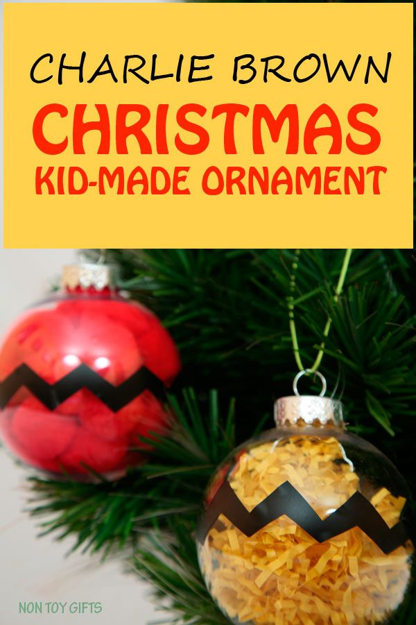 Charlie Brown kid-made Christmas ornaments. Easy and fun winter craft for the Peanuts movie fans.   at Non Toy Gifts