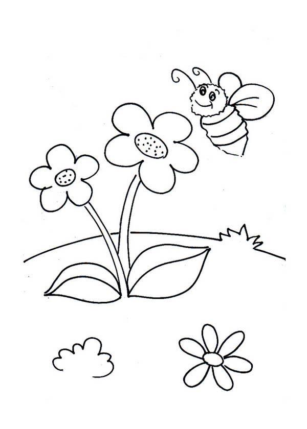 Bumblebee Little Bumblebee And Two Flowers Coloring Page Flower Coloring Pages Online Coloring Pages Coloring Pages