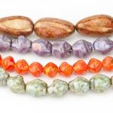 Pressed glass nugget beads CZECH GLASS | Eureka Crystal Beads
