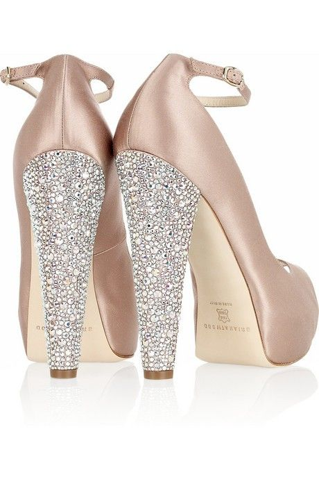 Beautiful Ankle Strap Embellished Peep-Toe Pumps