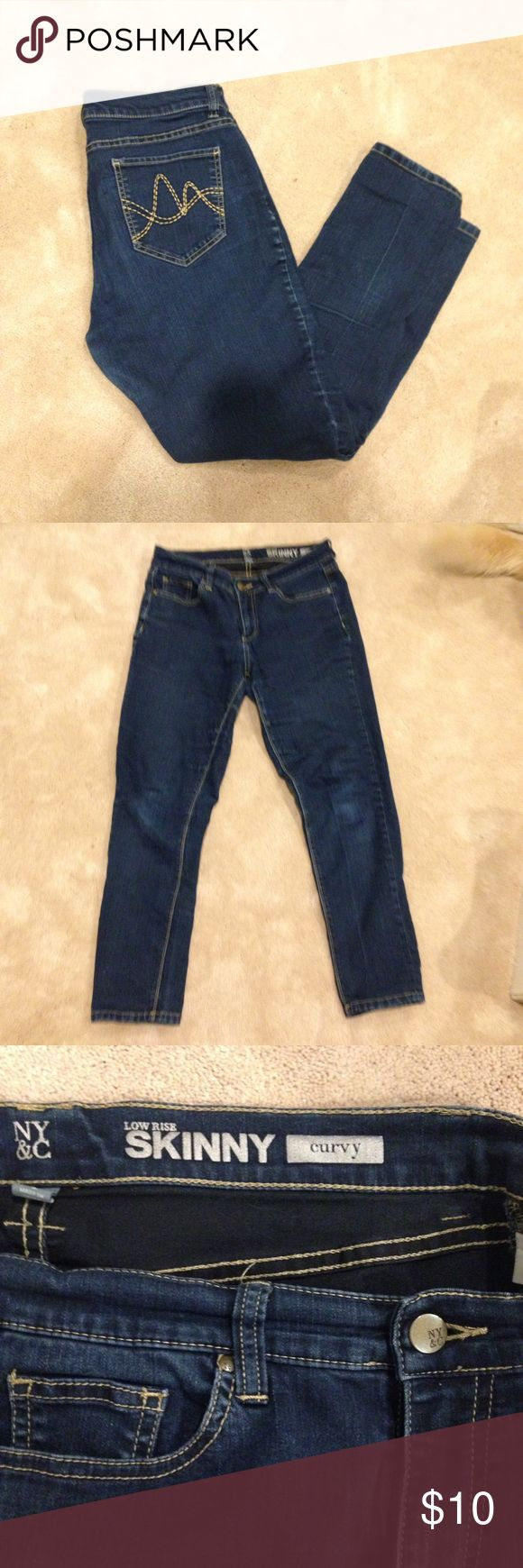NY&C Dark Low Rise Skinny Curvy Jeans Stretchy 8 Super comfy skinny jeans with a little room in the back for your tush. Size 8. Had a bit of stretch to it. Color a little faded from going through the wash but still very nice New York & Company Jeans Skinny