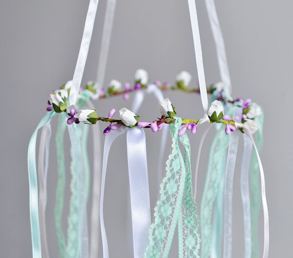 Mint White Lilac Baby Mobile Girl Nursery by FlowerHeadpiece
