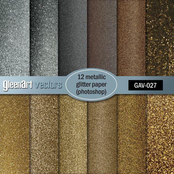 Metal Glitter paper/Gold/Silver/Bronze/Digital paper by GleenArt