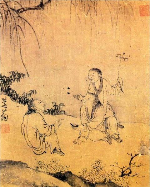 (Korea) Game of Children by Kim Hong-do. ca 18th century CE. Joseon Kingdom, Korea. 공기놀이