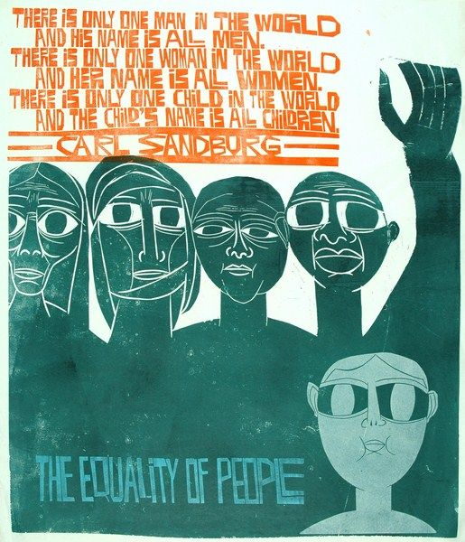 Linocut print by Paul Peter Piech part of the Paul Peter Piech Collection at Yale College, Wrexham.