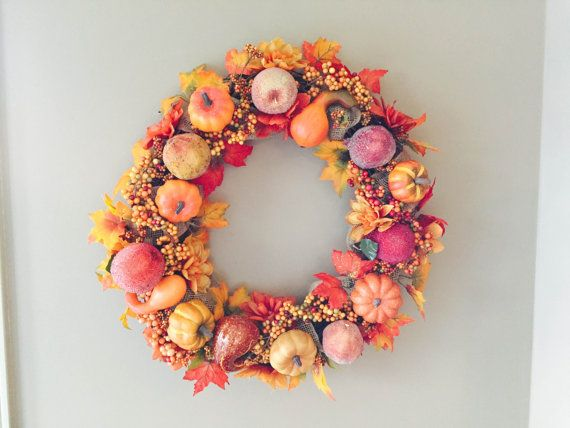 Fall Wreath Autumn Wreath Golden Harvest by LuckySophieCrafts SOOO Pretty! Perfect for the house!