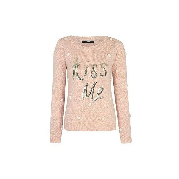 Top 10 Ladies Christmas Jumpers 2014 ❤ liked on Polyvore featuring tops, sweaters, pink sweater, christmas sweaters, pink top and xmas sweaters