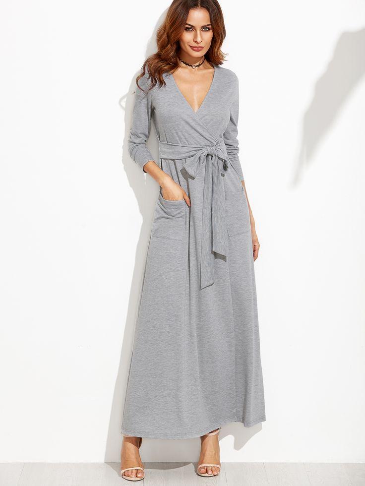 Shop Heather Grey Wrap Maxi Dress With Pockets online. SheIn offers Heather Grey…