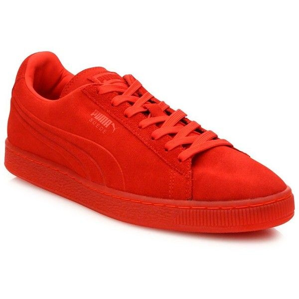 PUMA Suede Lace-Up Sneakers (180 BRL) ❤ liked on Polyvore featuring men's fashion, men's shoes, men's sneakers, apparel & accessories, red, puma mens shoes, puma mens sneakers, mens suede sneakers, mens lace up shoes and mens red suede shoes