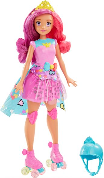Barbie enters the video game world with multicoloured hair and a memory game that uses lights on her skirt! With roller skates and helmet, she's all ready!