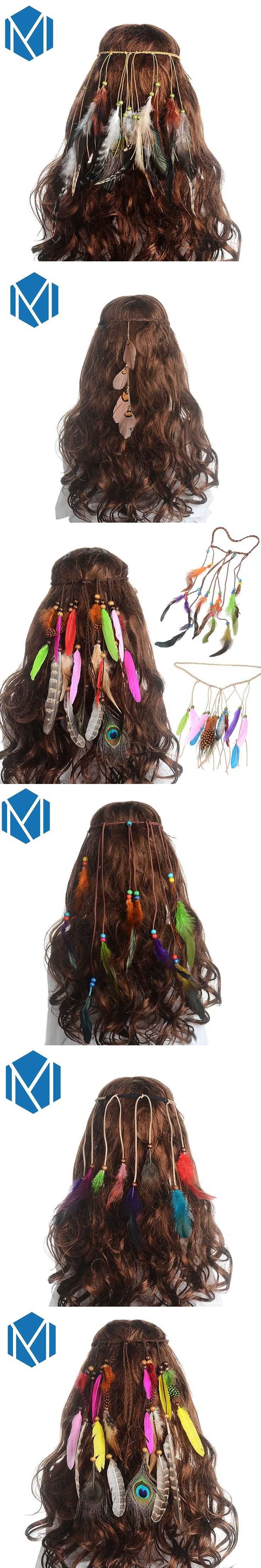 Girls Fashion Colorful Feather Headband 2017 New Festival Hippie Hair Band Accessories for Women Boho Styling Peacock Headdress