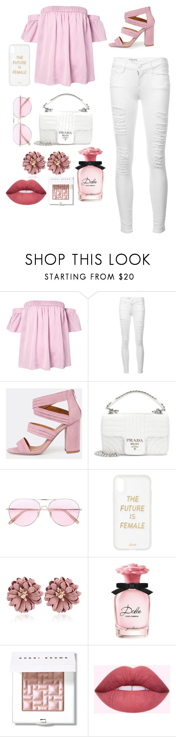 """blackbird singing in the dead of night🌸💓"" by aeburgi04 on Polyvore featuring Milly, Frame, Prada, Oliver Peoples, Sonix, Dolce&Gabbana and Bobbi Brown Cosmetics"