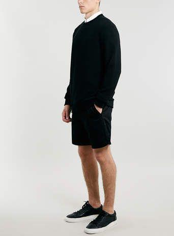Black Rib Texture Sweatshirt