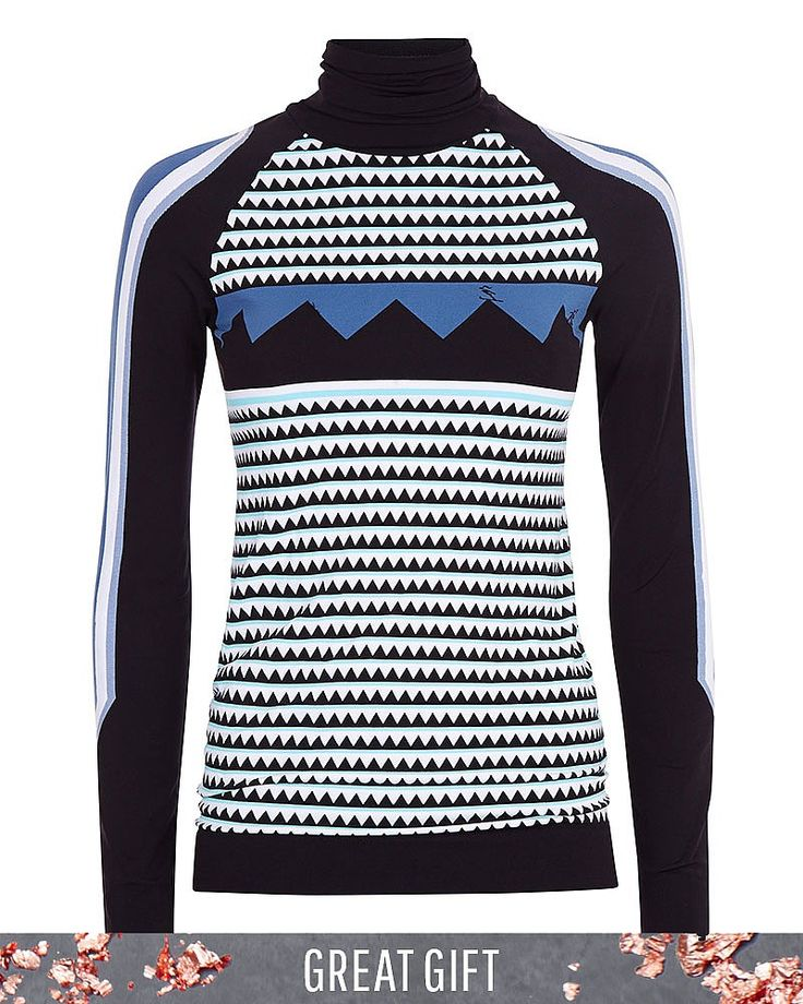 Introducing the base layer of the season. Crafted in quick-drying fabric, a high-neck, statement print and contrast jacquard panels guarantee statement style. As technical as it is beautiful, the high collar and ribbed cuffs and hem block out cold on and off the slopes. Pair with the  Mountain Top Leggings for a coordinated look.