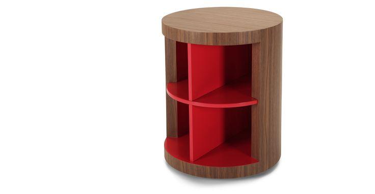 Moritz, table d'appoint rangement, rouge et noyer