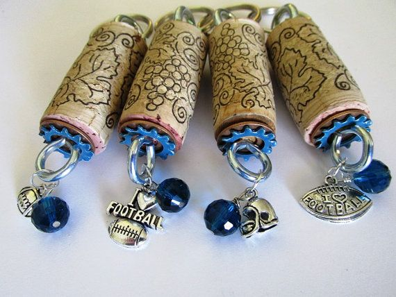 Wine Cork Keychains group of four Sea Hawk football  by EmsJewelry