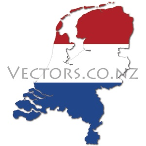 Flag Vector Map of the Netherlands