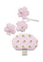 お花見団子の模様が付いた桜の花と木の折り紙