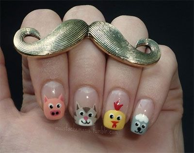Cute Zoo & Farm Animals Nail Art Designs & Ideas 2013/ 2014
