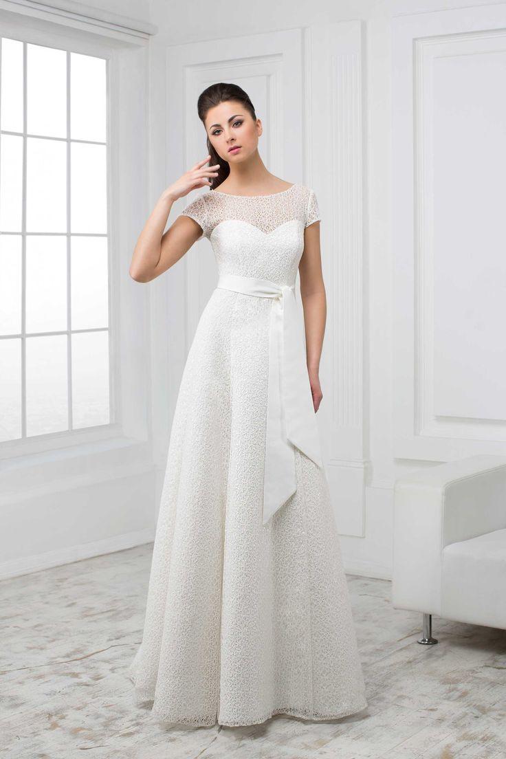 Elegantné svadobné šaty s krátkym rukávom na šnúrovačku