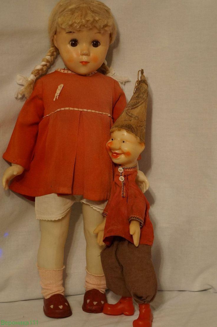 Кукла Светлана с петрушкой.  Клееный паричок. В родной одежде. СССР РЕДКАЯ......