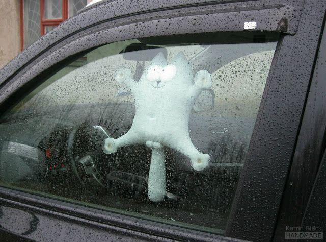 Кот Саймон светло-серый с присосками для автомобиля - оригинальный подарок мужчине/мужу/водителю - авторская мягкая игрушка ручной работы от Katrin Black