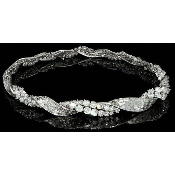 1950s Sterlé Paris De Beers Diamond Award Diamond Necklace ❤ liked on Polyvore featuring jewelry, necklaces, de beers, strand necklace, graduation jewelry, diamond jewellery and twist jewelry
