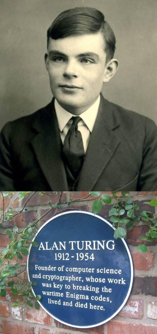"""Alan Turing has been given a posthumous royal pardon today.  60 years too late.  For those who don't know his story, #AlanTuring a true genius, is nowadays considered the father of modern computers & lead the team who broke the Nazi Enigma code & thus shortened WW2 by two years!  The British Government """"rewarded"""" this WAR HERO with chemical castration as a """"treatment"""" and hounded him to suicide because he was gay."""