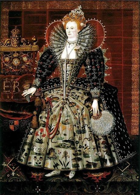 1592-99 Queen Elizabeth I 1533-1603 The Hardwick Portrait by Nicholas Hilliard and his workshop.