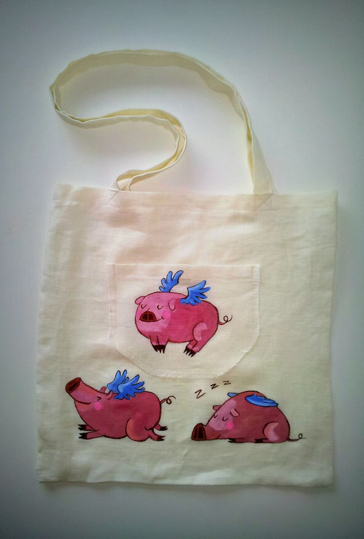 #Textile #Bag with funny handpainted design #Waterproofcolors Theme - Flying Pigs -Starting price 30 Ron