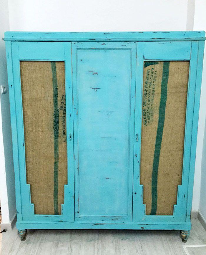 Muebles reciclados un armario con sacos de cafe deco for Armarios reciclados