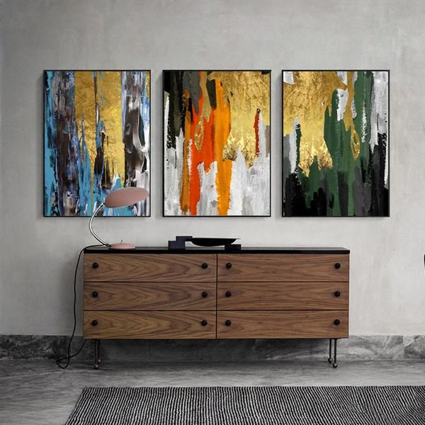Dripping In Color Set Of 3 Floating Frame Gold Canvas Cool Artwork