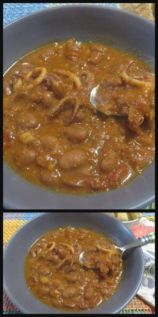 Zuppa con calamari e fagioli borlotti !  #zuppa #zuppafagioli #zuppacalamari #ricettegustose