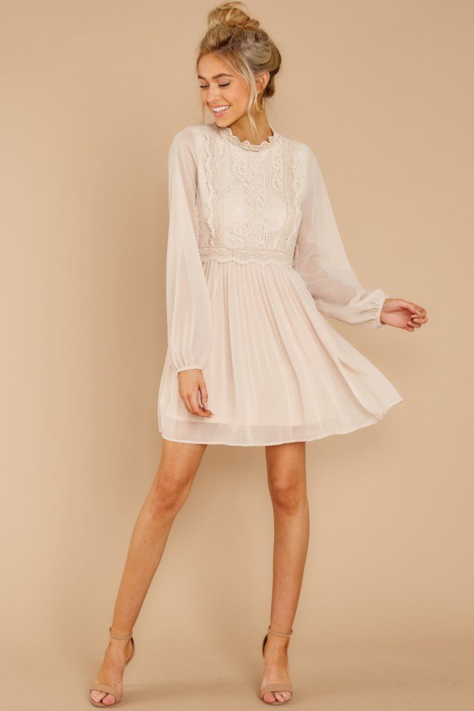 Cutest Ivory Dress With Long Sleeves Perfect Engagement Party Or Rehearsal Dinner Dress Affiliate Short Ivory Lace Dress Lace White Dress White Short Dress
