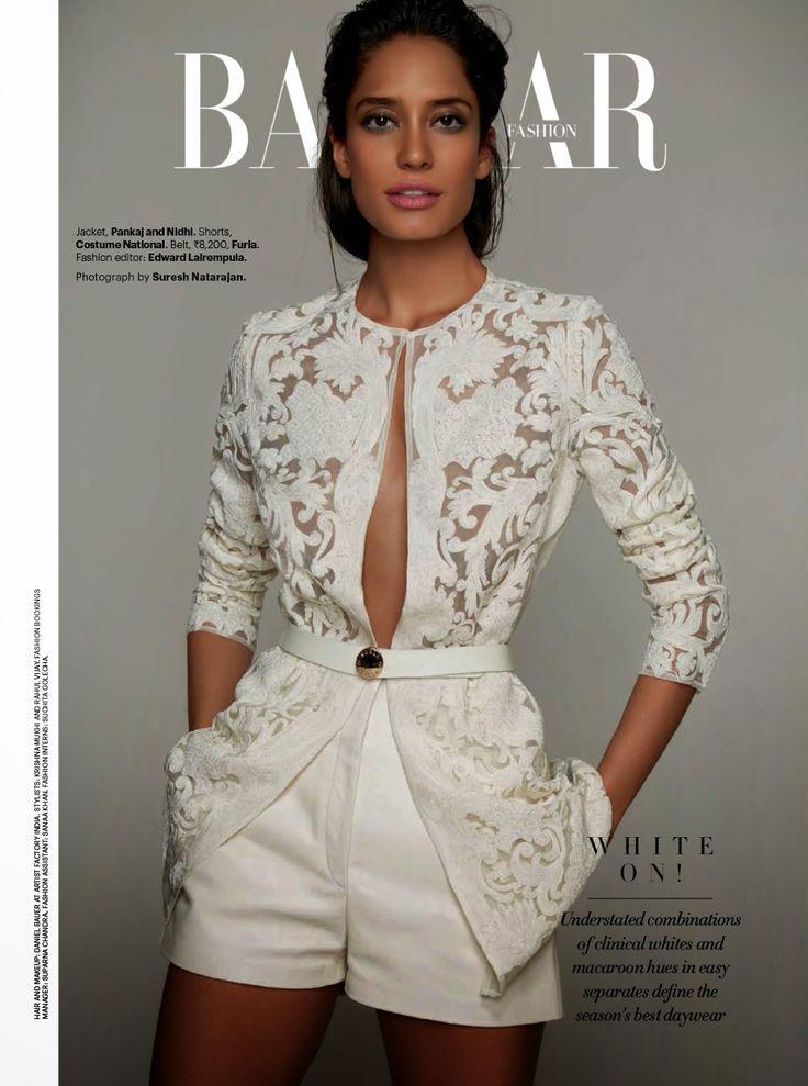 """""""White On"""" Lisa Haydon by Suresh Natarajan for Harper's Bazaar India April 2014"""