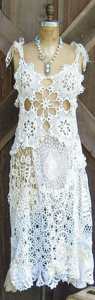 crochet dress - interesting piecing together of crochet work to form a dress