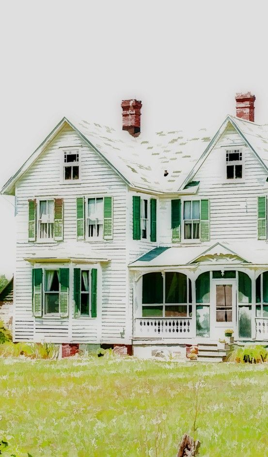 Old White Farm House with green shutters