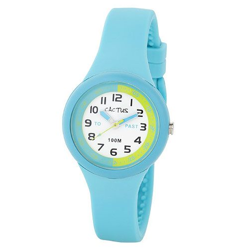 Helps kids learn to read time (sold out). The watch face has markings for 1/4 and 1/2 as well as To and Past on the dial. The inner ring also has markings from 0 to 30 on the right side, with reverse markings up the left side (to read 25 to 10, 20 to 10 etc)