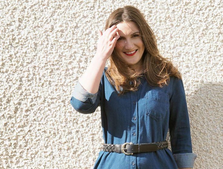 Denim shirt dress in the spring sunshine
