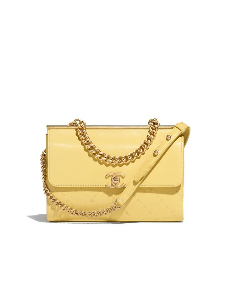 Flap Bag Lambskin Gold Tone Metal Yellow Chanel