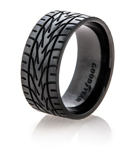 NASCAR is some of the most exciting stuff out there and this Black Goodyear NASCAR Tire Tread Ring is one of the most exciting wedding bands. Includes free shipping.