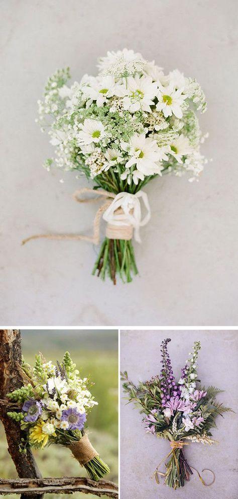 Ramos de Novia con Flores Silvestres: Los ramos de novia con flores silvestres son tendencia, por esa naturalidad que transmiten, a la vez que elegancia.