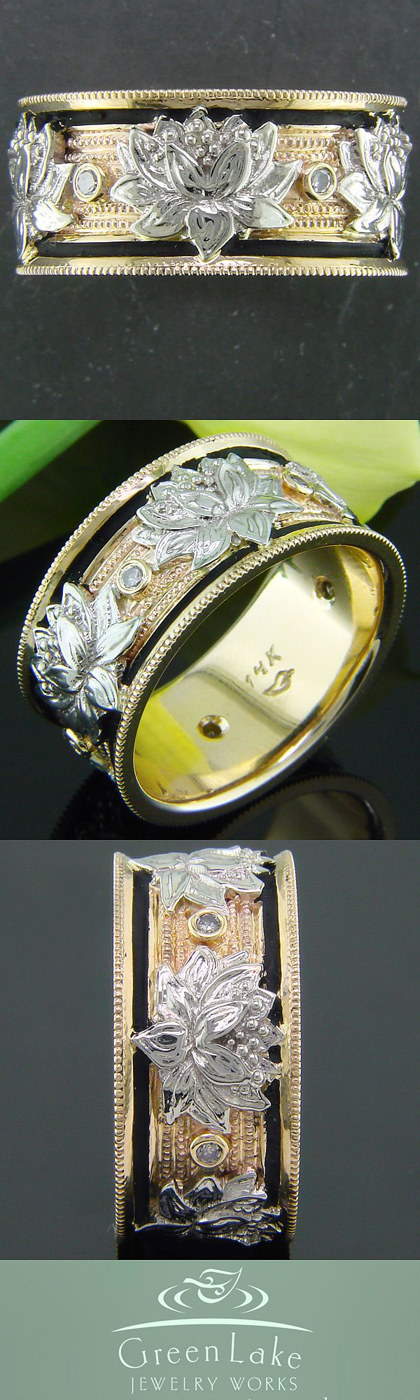 #GreenLakeMade hand carved yellow and white gold lotus band with diamonds. #Ido