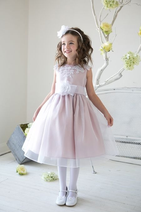 Dusty Rose Lace Accented Bodice with Organza Flower Girl Dress KC-D1231-DR on www.GirlsDressLine.Com